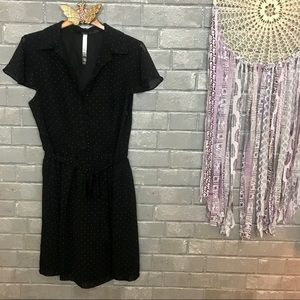 kensie // black & white polka dot shirtdress s